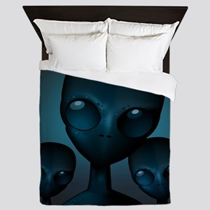 Friendly Blue Aliens Queen Duvet