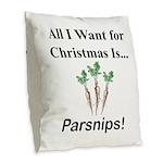 Christmas Parsnips Burlap Throw Pillow