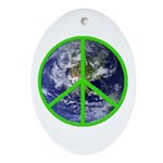 Earth Peace Symbol Oval Ornament