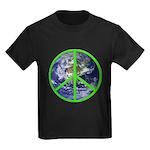 Earth Peace Symbol Kids Dark T-Shirt