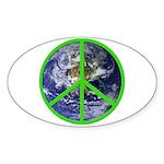 Earth Peace Symbol Oval Sticker