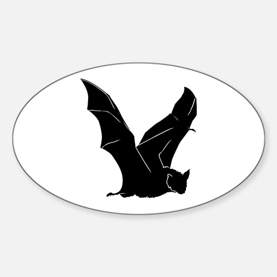 Flying Bat Silhouette Oval Decal