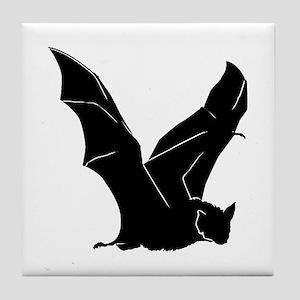 Flying Bat Silhouette Tile Coaster