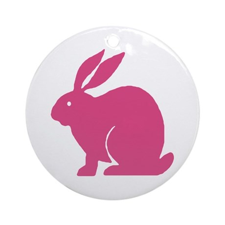 Pink Bunny Rabbit Ornament (Round)
