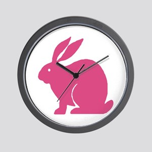 Pink Bunny Rabbit Wall Clock