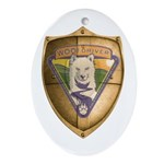 WooFDriver Gold Cross Shield Ornament (Oval)