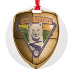 WooFDriver Gold Cross Shield Ornament