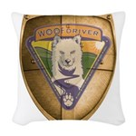 WooFDriver Gold Cross Shield Woven Throw Pillow