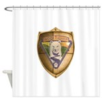 WooFDriver Gold Cross Shield Shower Curtain