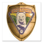 WooFDriver Gold Cross Shield Square Car Magnet 3
