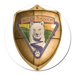 WooFDriver Gold Cross Shield Round Car Magnet