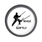 Karate Quips Walk Softly Wall Clock