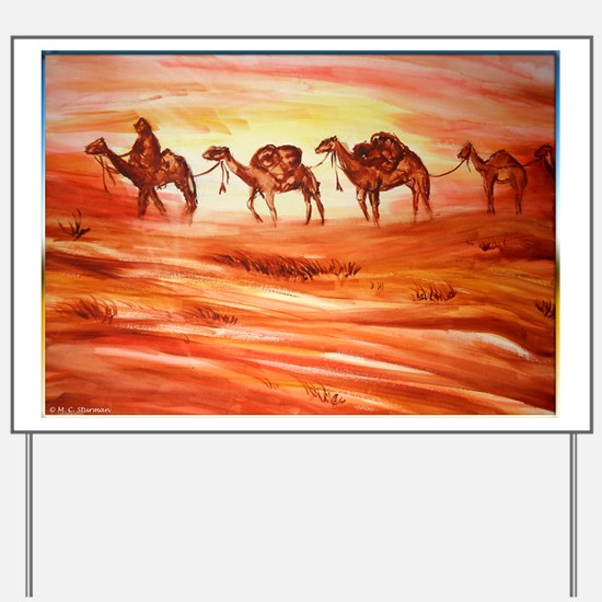 Camels, desert art Yard Sign