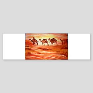 Camels, desert art Bumper Sticker