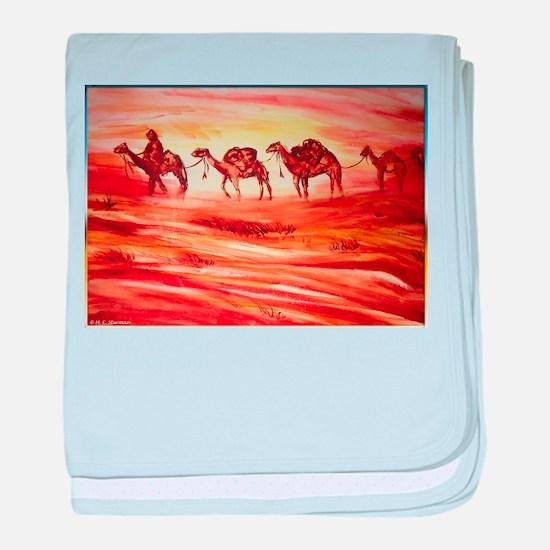 Camels, desert art baby blanket