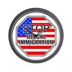 Stop Illegal Immigrants Wall Clock