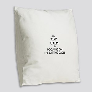 Keep Calm by focusing on The B Burlap Throw Pillow