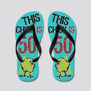 187b488d61f0 Funny 50th Birthday Women Flip Flops - CafePress