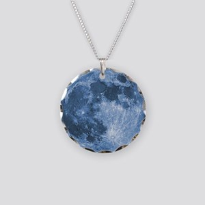 Blue Moon Necklace Circle Charm