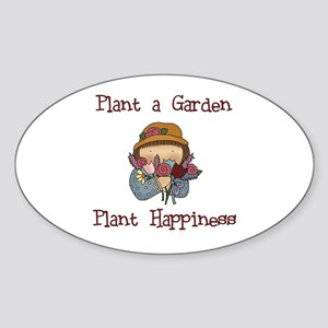 Plant Happiness Oval Sticker
