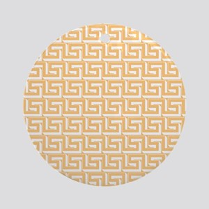 Elegant Yellow Greek Key Ornament (Round)