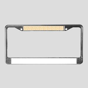 Yellow Greek Key Pattern License Plate Frame