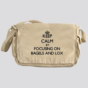 Keep Calm by focusing on Bagels And Messenger Bag