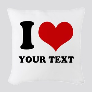 personalized I love Woven Throw Pillow