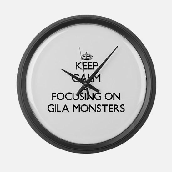 Keep Calm by focusing on Gila Mon Large Wall Clock