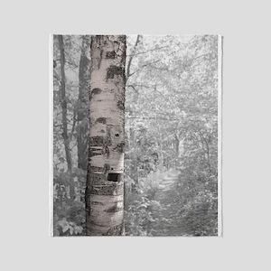 Birch Tree In Forest Throw Blanket