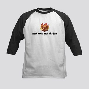 BBQ Fire: Real men grill chic Kids Baseball Jersey