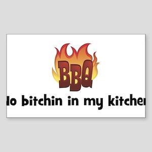 BBQ Fire: No bitchin in my ki Sticker (Rectangular