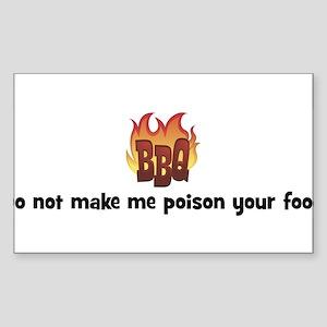 BBQ Fire: Do not make me pois Sticker (Rectangular