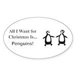Christmas Penguins Sticker (Oval 10 pk)