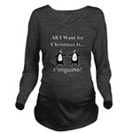 Christmas Penguins Long Sleeve Maternity T-Shirt