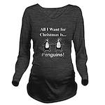 Christmas Penguins Long Sleeve Maternity T-Shirt