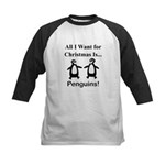 Christmas Penguins Kids Baseball Jersey