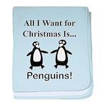 Christmas Penguins baby blanket