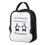 Christmas Penguins Neoprene Lunch Bag