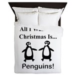 Christmas Penguins Queen Duvet