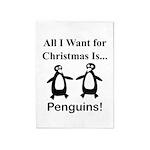 Christmas Penguins 5'x7'Area Rug