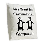 Christmas Penguins Burlap Throw Pillow