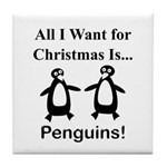 Christmas Penguins Tile Coaster