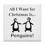 Christmas Penguins Tile Coaster
