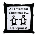 Christmas Penguins Throw Pillow