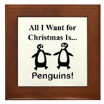 Christmas Penguins Framed Tile