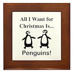 Christmas Penguins Framed Tile