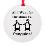 Christmas Penguins Round Ornament