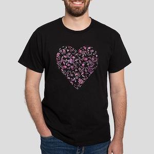 Pink floral heart Dark T-Shirt