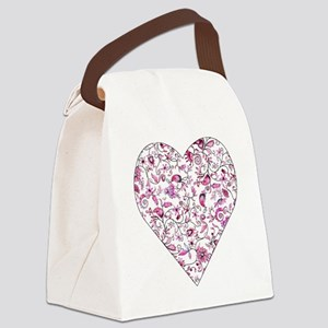 Pink floral heart Canvas Lunch Bag
